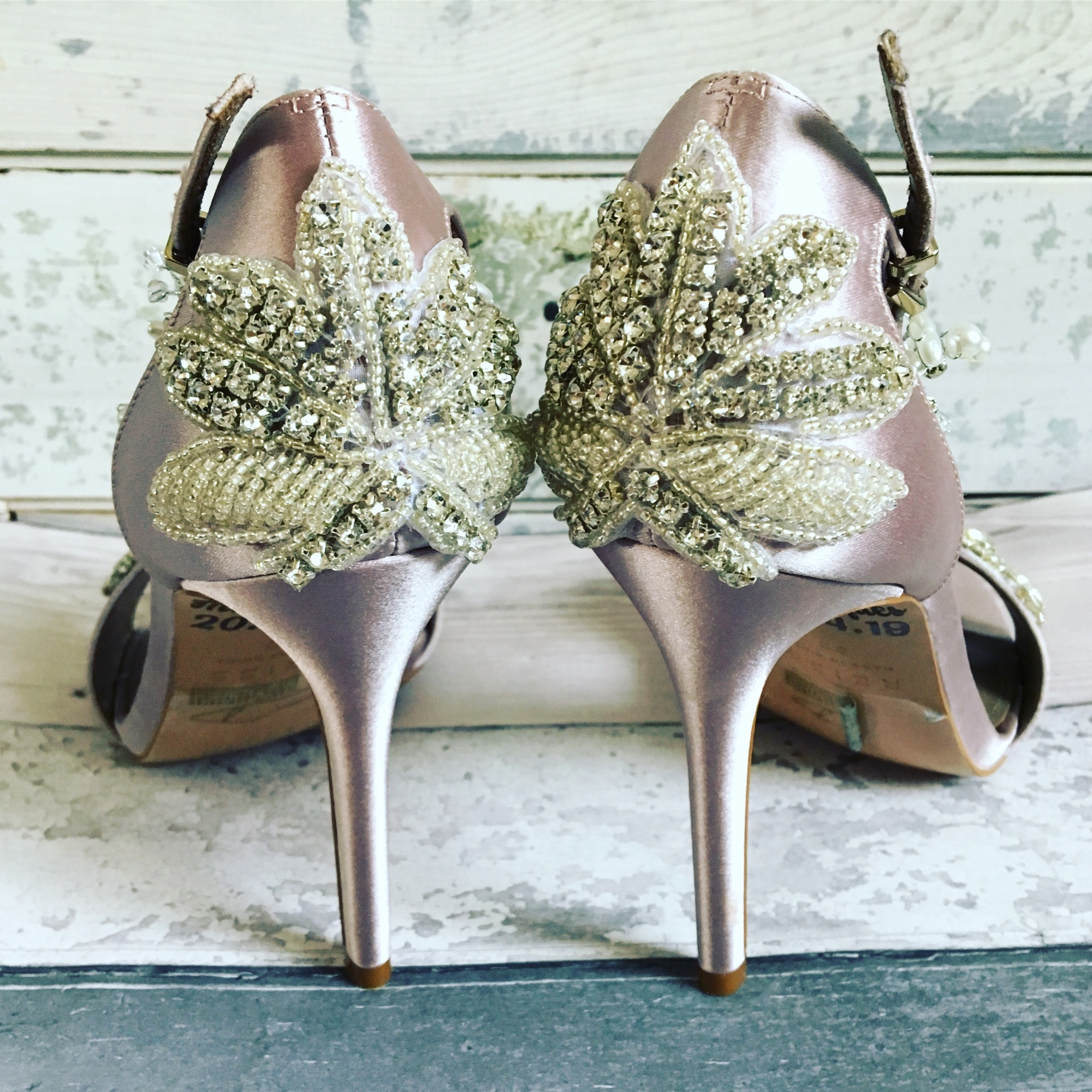 Jewelled heel shoes custom designed with Lace and Love.