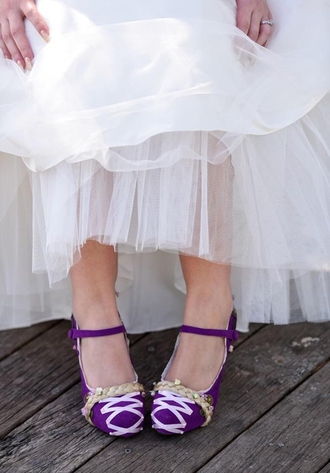 Custom tangled inspired shoes by Lace and Love. Purple shoes