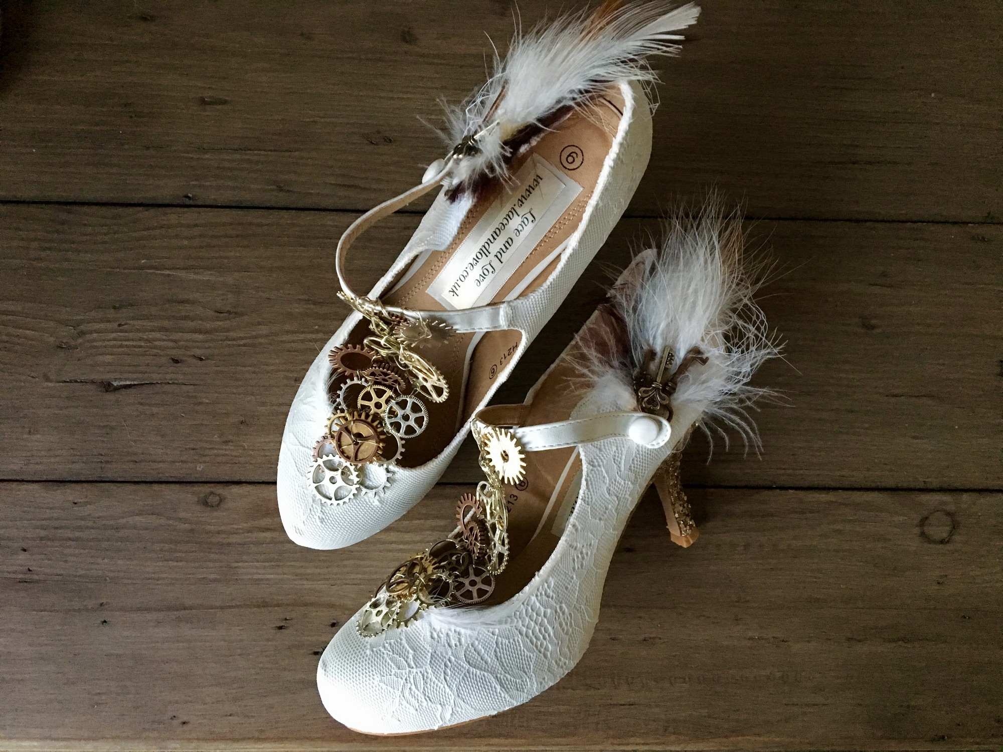 Custom steampunk shoes with cog t-bar and feathers