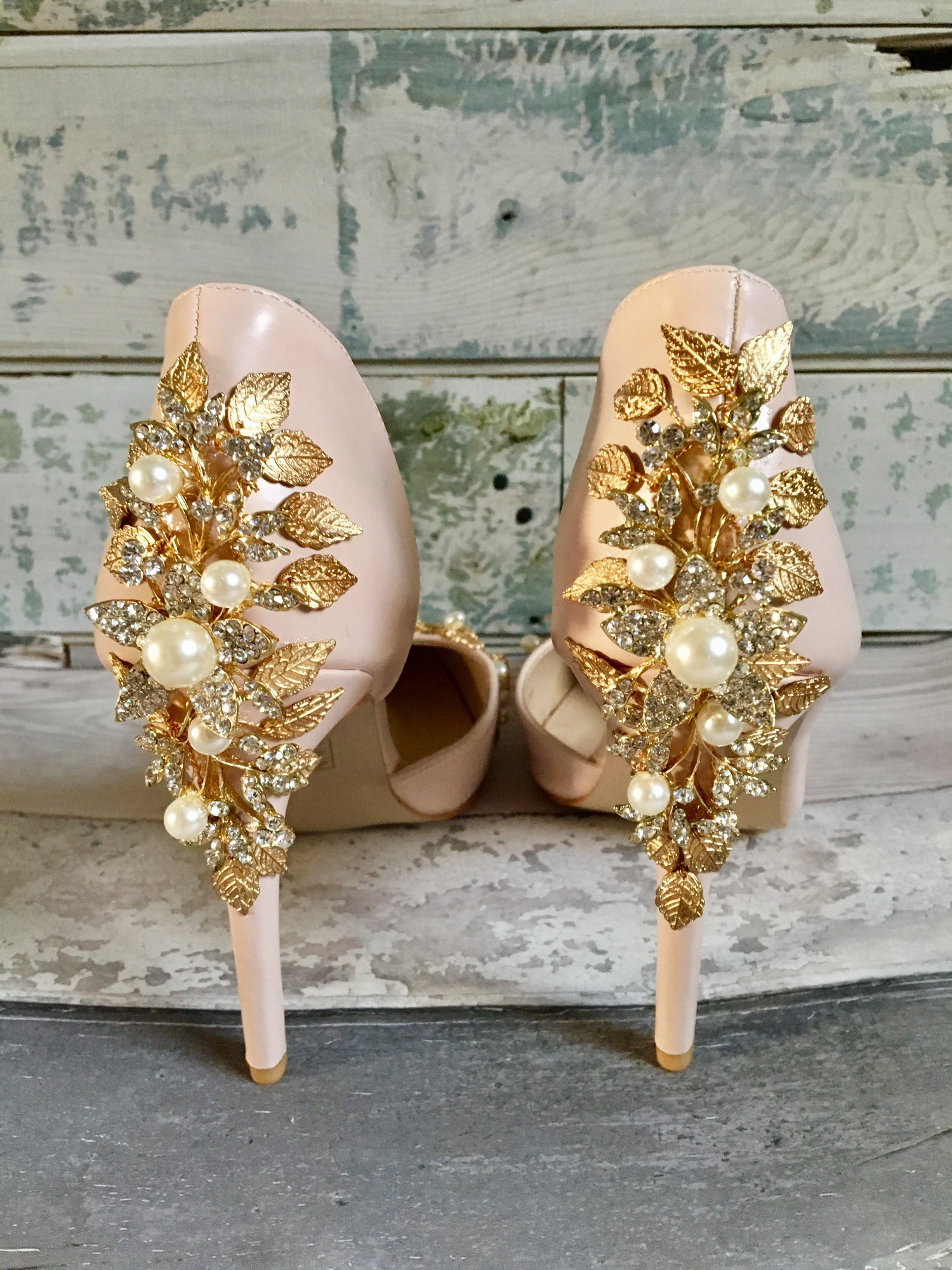 Gem heel, leaf heel shoes custom designed by Lace and Love. gold flowers and leaves