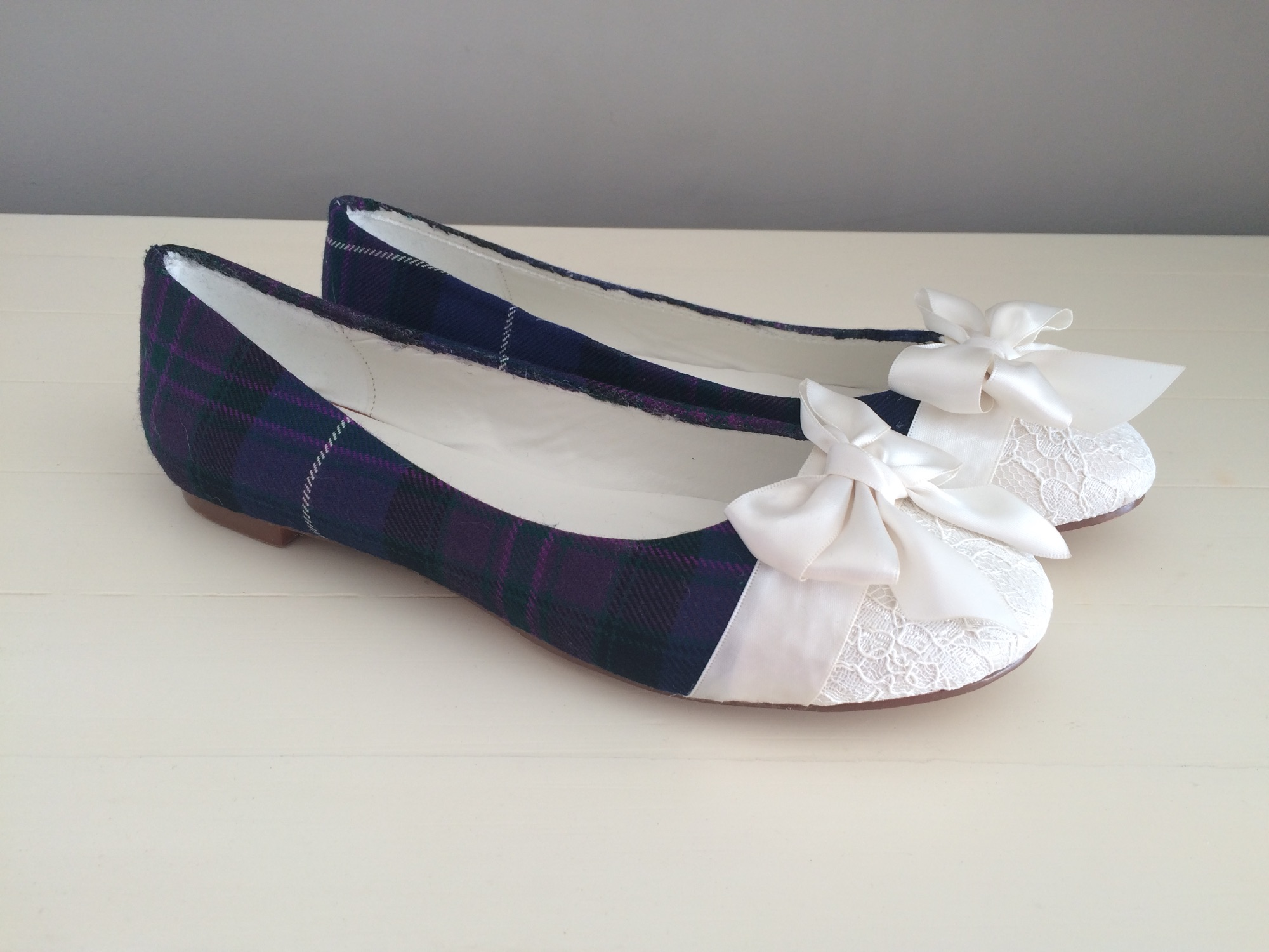 Flat tartan shoes custom designed by Lace and Love
