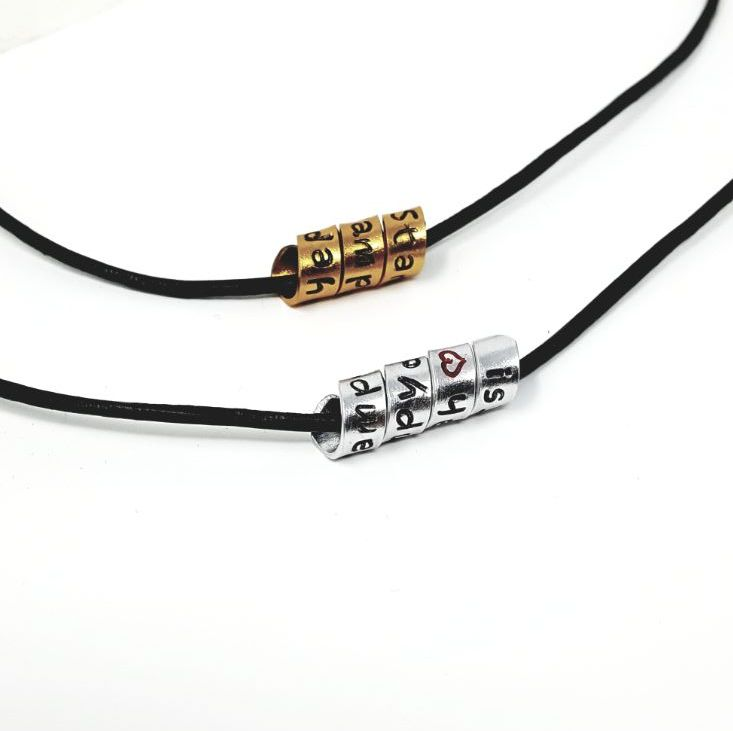Personalised hidden message scroll leather necklace