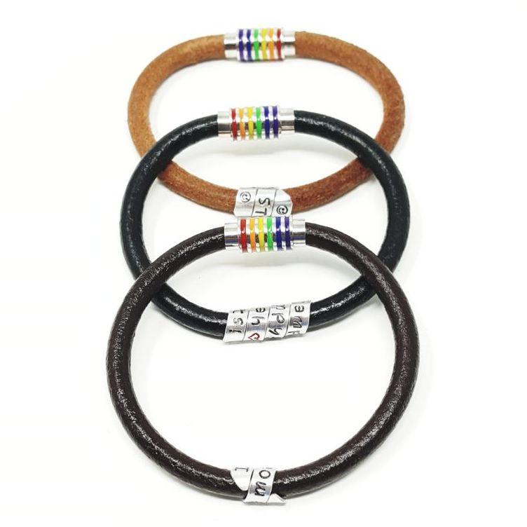 Personalised LGBT leather bracelet.