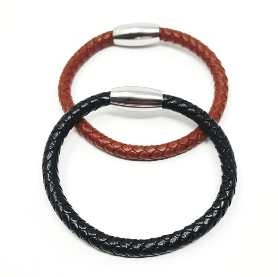 Braided leather bracelet.