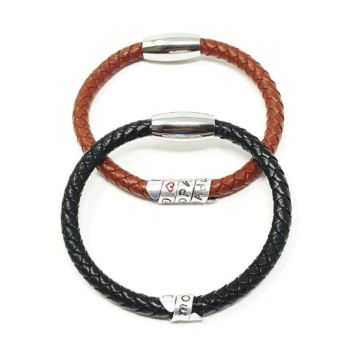 HIDDEN MESSAGE BRAIDED LEATHER BRACELET