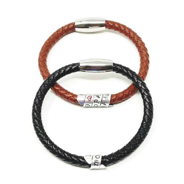 Personalised braided leather bracelet.