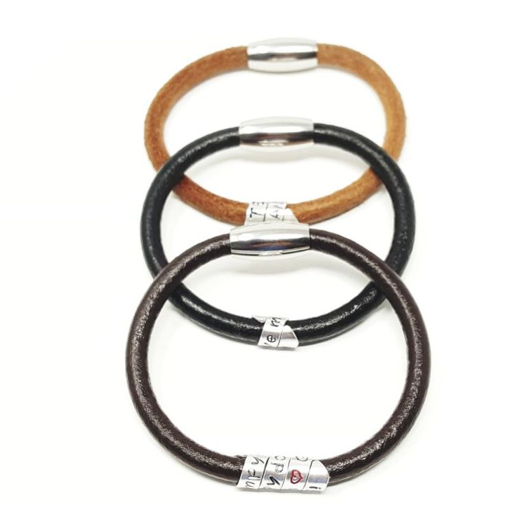 Personalised leather bracelet.