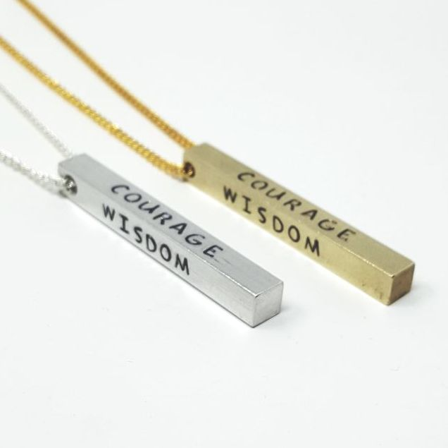 SERENITY, COURAGE, WISDOM & STRENGTH INGOT BAR NECKLACE