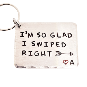 'I'M SO GLAD I SWIPED RIGHT' PERSONALISED INITIAL KEYRING