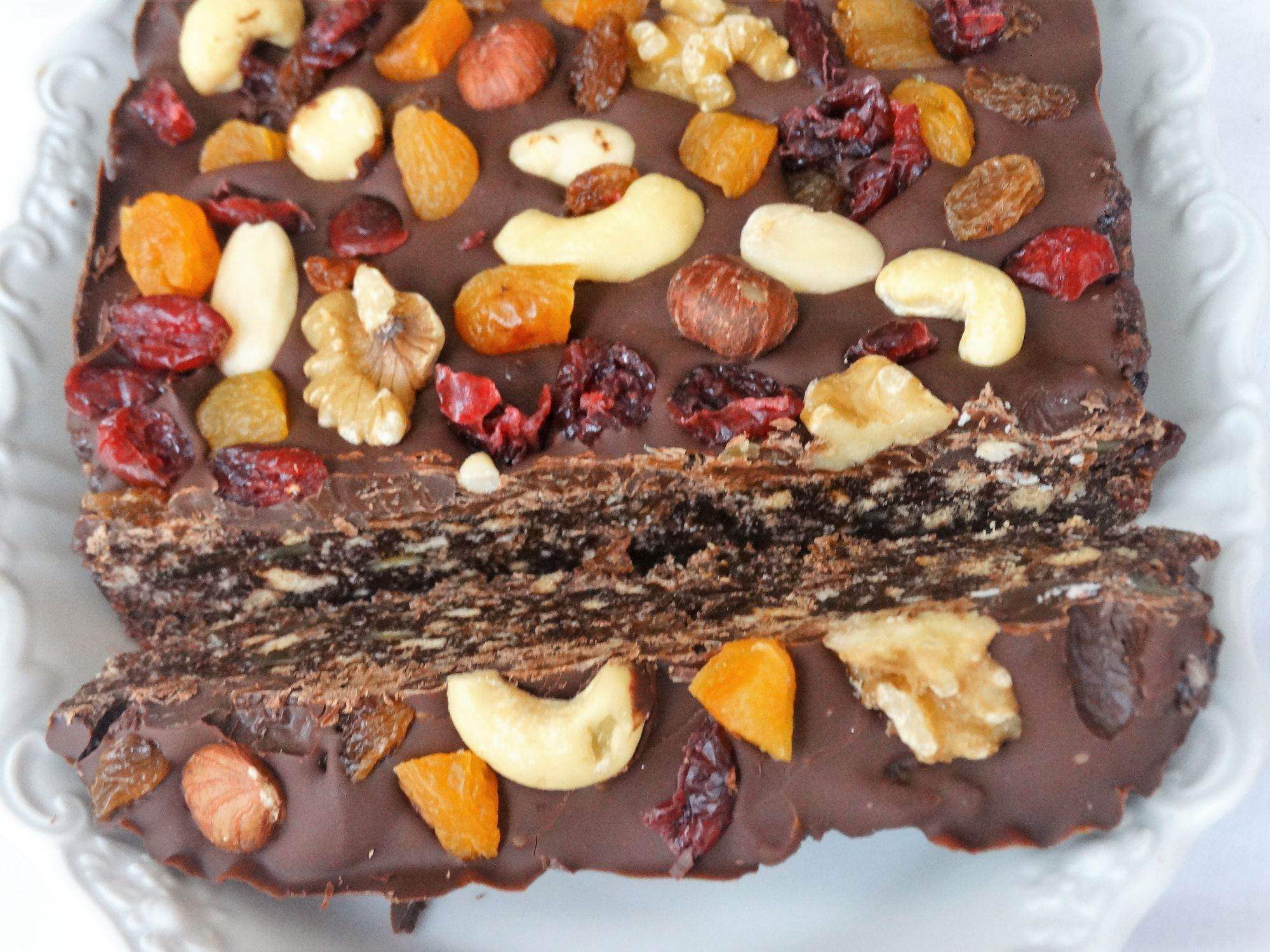 Fruit And Nut Chocolate Tiffin Slab