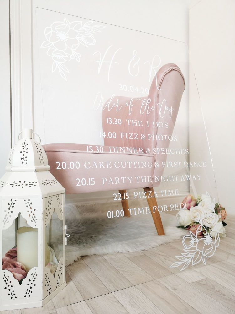 A1 Order of the Day Acrylic Wedding Sign