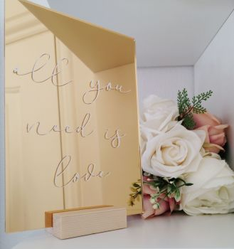 A5 'All you need is love' Gold Mirrored Acrylic Sign