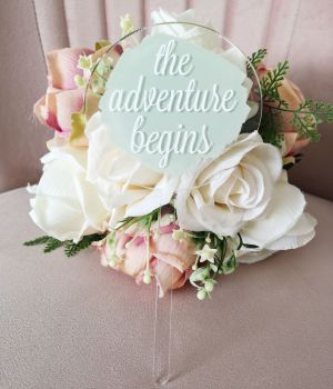 'The Adventure Begins' Single Paddle Acrylic Cake Topper