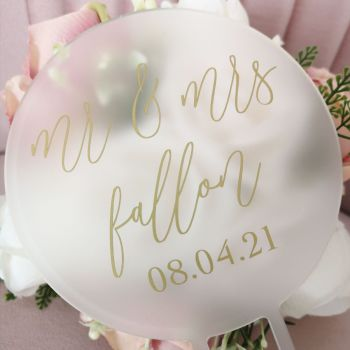 Personalised Frosted Acrylic Cake Topper