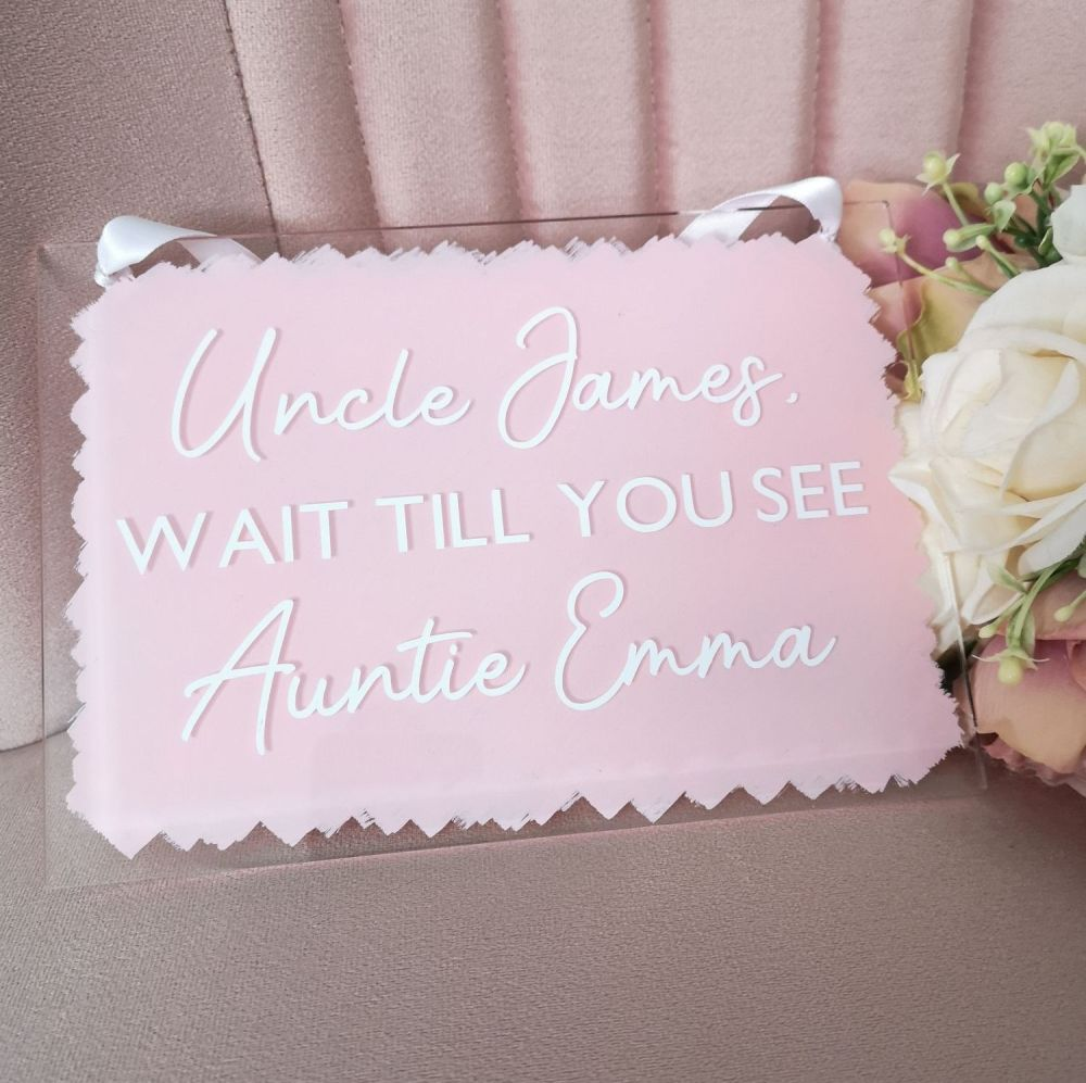 Personalised A5 Acrylic Aisle Sign in White and Blush Pink
