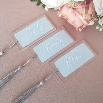 Personalised Painted Acrylic Place Name with Tassle