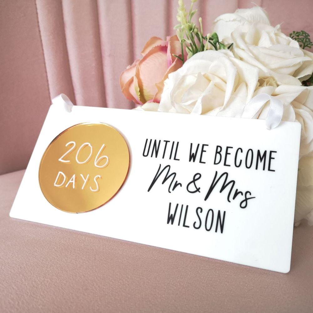 Personalised Wedding Countdown Sign