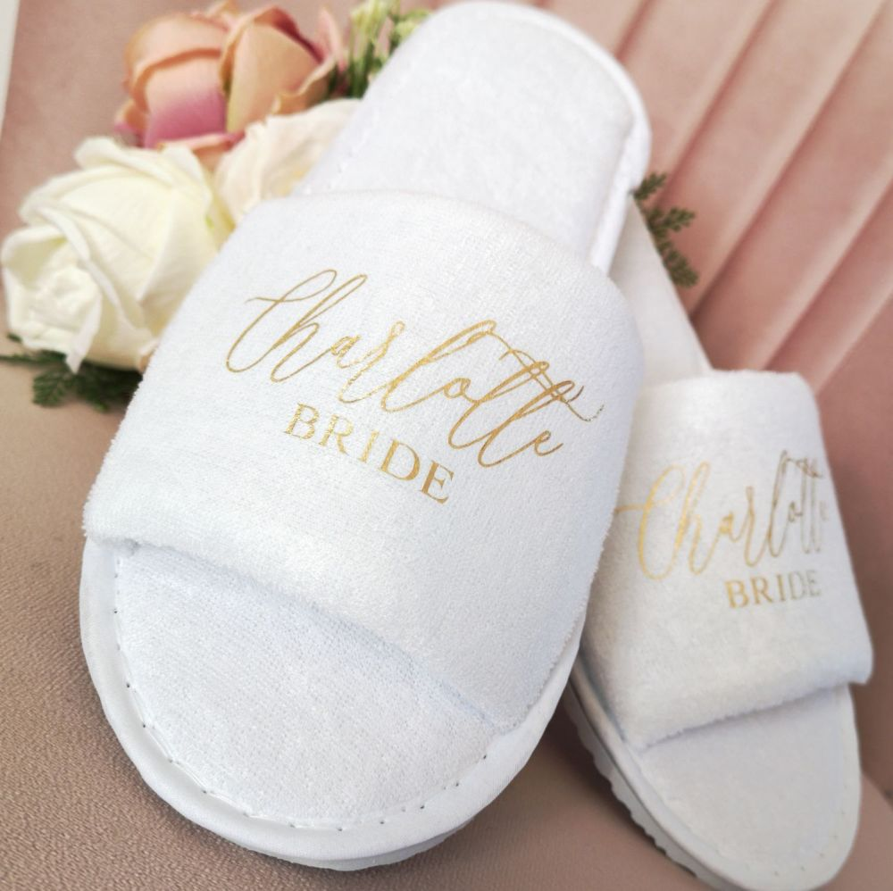 Personalised Bridal Party Slip On Slippers.