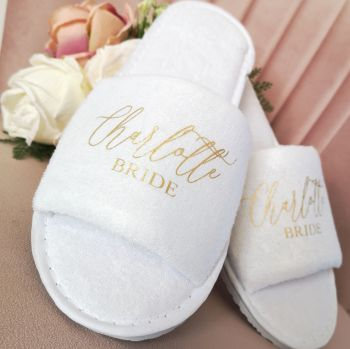 Personalised Bridal Party Slippers.