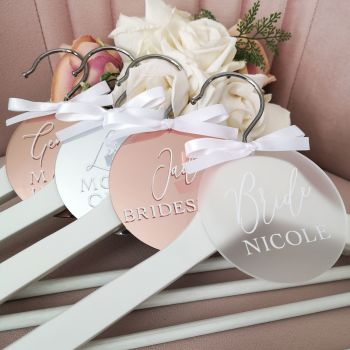 Wedding Party Hangers with Mirrored Disc