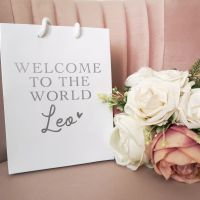 Personalised Welcome to the World Luxury White Gloss Gift Bag