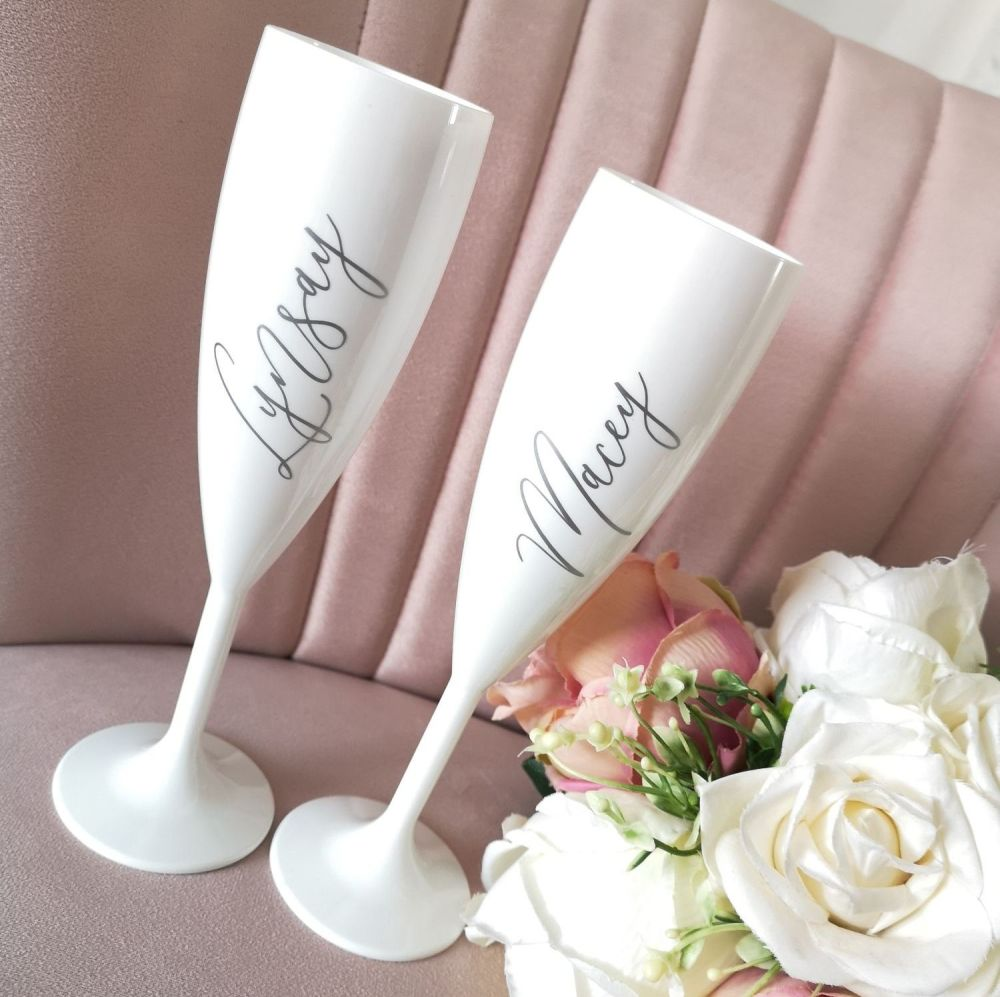 Personalised White Champagne Glasses
