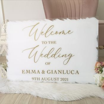 A2 Acrylic Brush Effect Welcome Sign