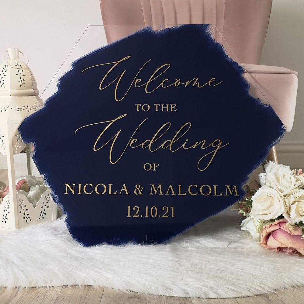 Acrylic Hexagon Wedding Welcome Sign