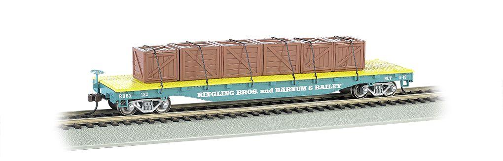 Ringling Bros. & Barnum & Bailey-Flat Car w/ Crates, Blue (HO)