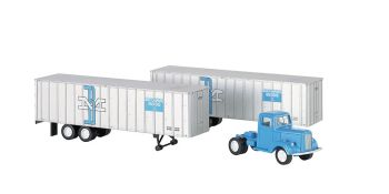 Boston & Maine - Blue Truck Cab & 2 Piggyback Trailers (HO)