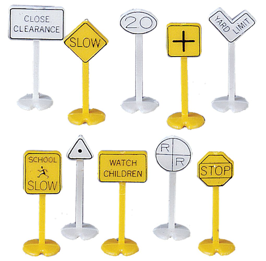 Railroad & Street Signs (24 pieces) (HO Scale)