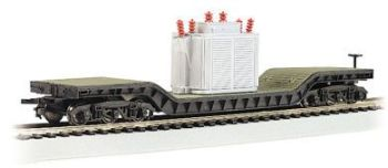 52' Center-Depressed Flat Car - with Transformer (HO Scale)