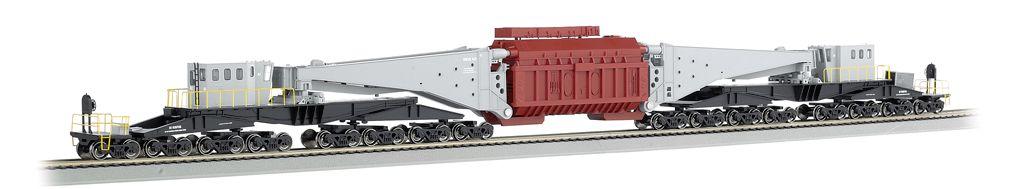 Gray & Black W/Oxide Load & Black Trucks-380 ton Schnabel Car(HO Scale)