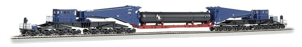 Blue & Black w/Retort Load & Black Trucks-380 ton Schnabel Car