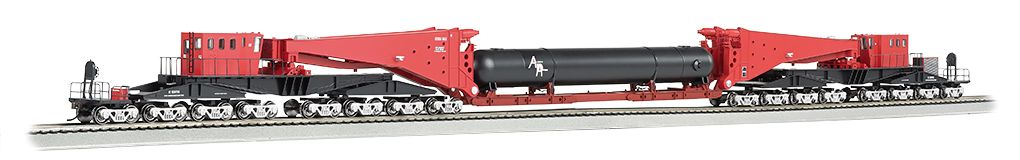 Red & Black w/Retort Load & Silver Trucks-380 ton Schnabel Car