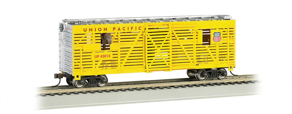 Union Pacific® - 40ft Animated Stock Car w/ horses (HO Scale)