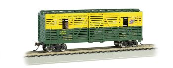 C & NW - 40ft Animated Stock Car w/ horses (HO Scale)