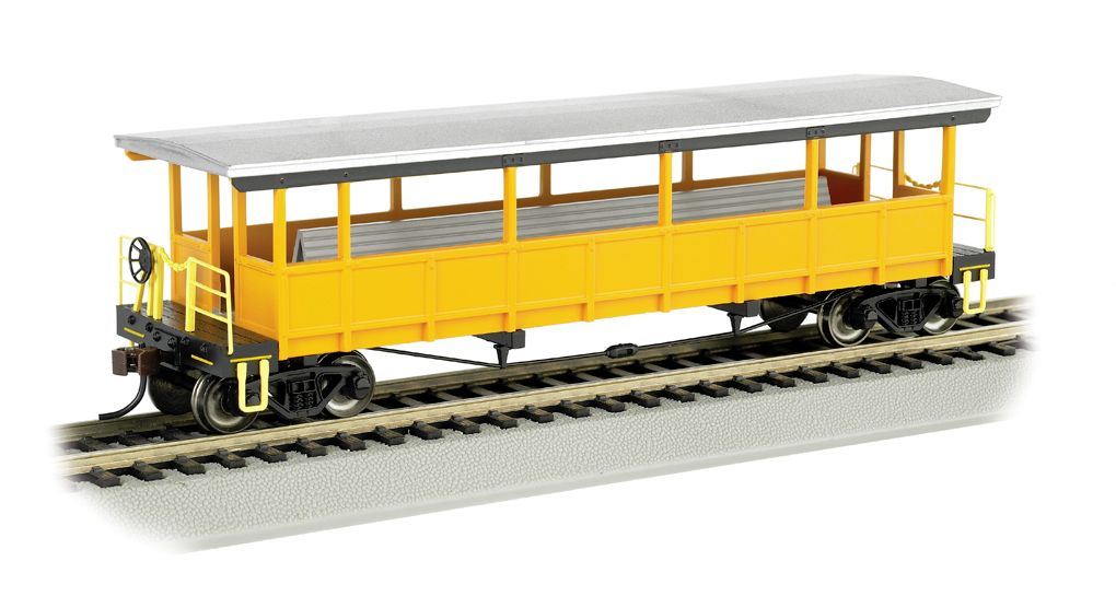 Painted Unlettered-Silver/Yellow - Open-Sided Excursion Car (HO)