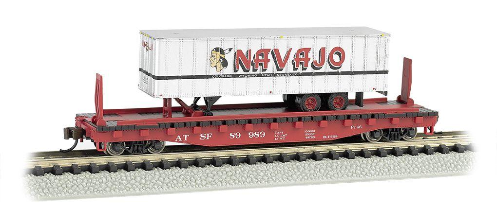 Santa Fe 52ft flat car w/ Navajo Freight Lines 35ft Trailer