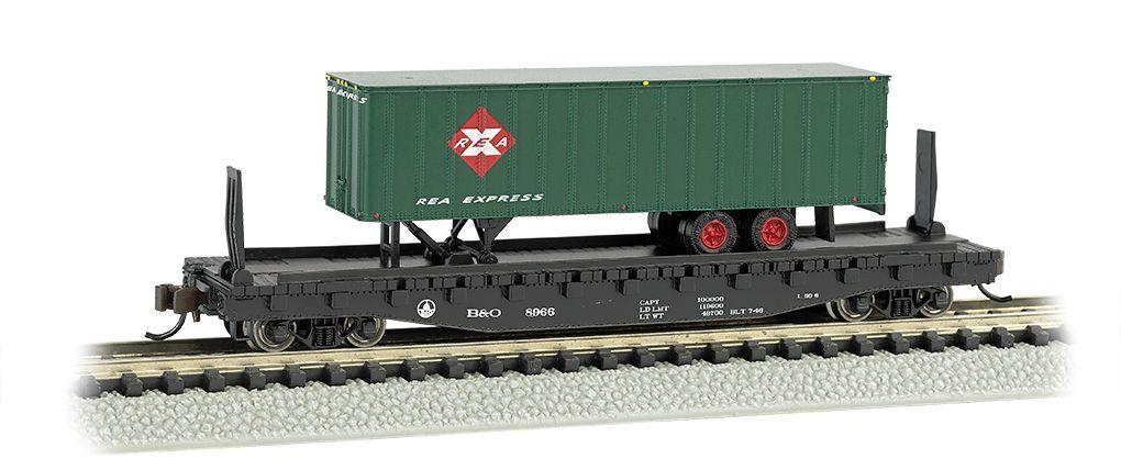 B&O® 52ft flat car w/Railway Express Agency 35ft Trailer
