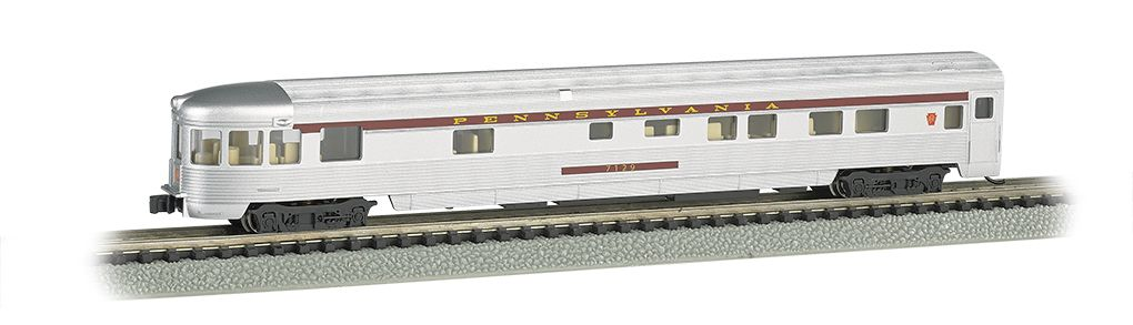 Pennsylvania Silver w/Tuscan Stripe - 85 FT Observation Car w/ lighted int.