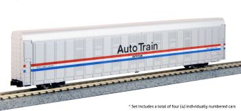 Autorack Amtrak Auto Train Phase III 4-Car Set #1 #9100, 9109, 9114, 9115