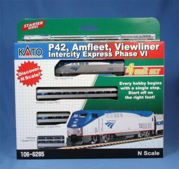 """GE P42, Amfleet, Viewliner Intercity Express Phase VI 4-Car """"Starter Series"""" Set"""