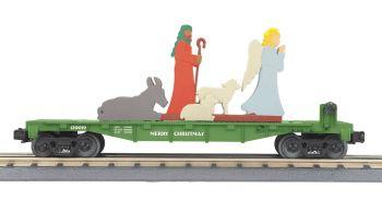 O Christmas Flatcar w/Lighted Shepherd Scene