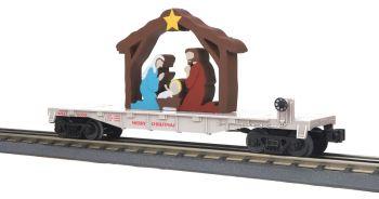 Flat Car w/Lighted Nativity Scene - Christmas (White)