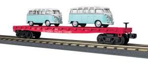 Flat Car w/(2) 'VW Bus - Southern Pacific