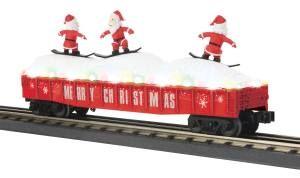 Gondola Car w/LED Christmas Lights & Skiing Santas - Christmas (Red)