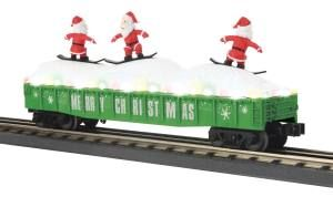 Gondola Car w/LED Christmas Lights & Sking Santas - Christmas (Green)