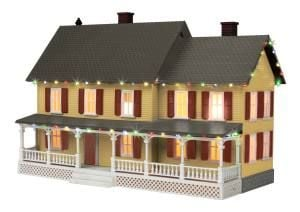 Country House w/Operating Christmas Lights (Gray Roof) Tan w/ Red Shutters