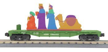 Flat Car w/Lighted Wise Men Scene - Christmas (Green)